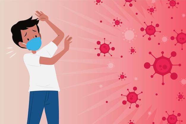 L'uomo ha paura della malattia da coronavirus