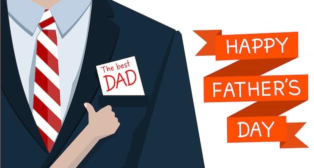 L'uomo in giacca e cravatta e la mano come la carta il miglior papà