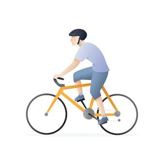 L'uomo in sella a una bicicletta
