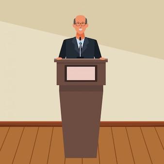 L'uomo in un podio