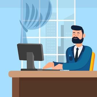L'uomo in vestito blu si siede al tavolo in ufficio