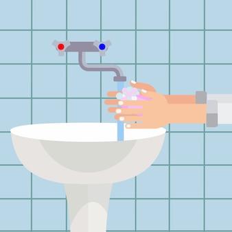 L'uomo lavare le mani con il concetto di vettore di sapone