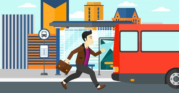 L'uomo manca l'autobus