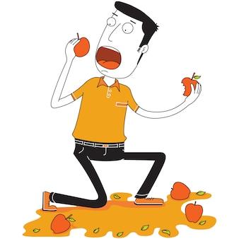 L'uomo mangia delle mele