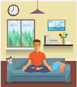 L'uomo medita nella posizione del loto dello yoga nell'interno domestico. posa calma, equilibrio mentale, armonia, energia di spiritualità, seduta di esercizio del corpo. piatto .