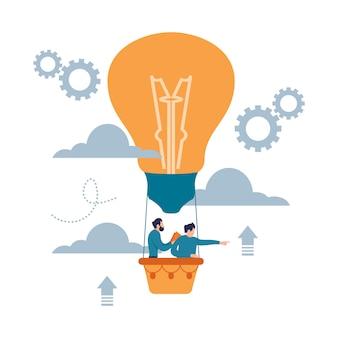 L'uomo nel pallone della lampadina cerca il successo. stile piano del fumetto di concetto di idea di affari