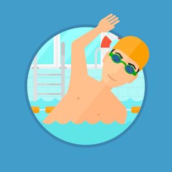L'uomo nuota in piscina.