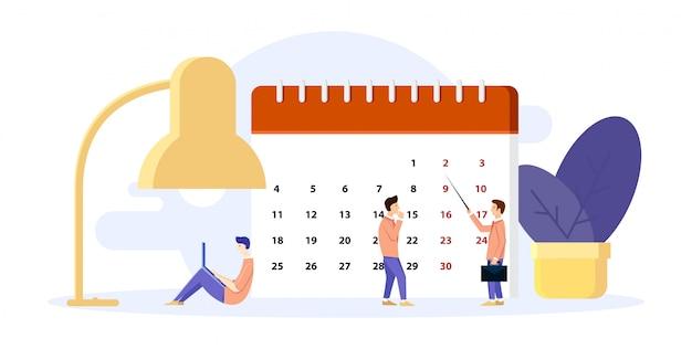 L'uomo organizza la sua giornata. costruisce piani sul calendario.