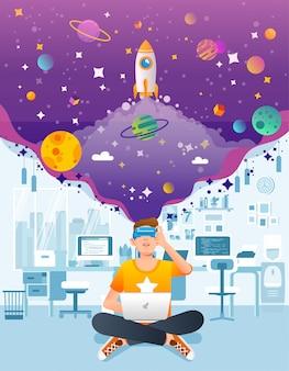 L'uomo si siede con il computer portatile usando vr o la realtà virtuale in ufficio, avvia la società sviluppa l'illustrazione di vettore della tecnologia di vr