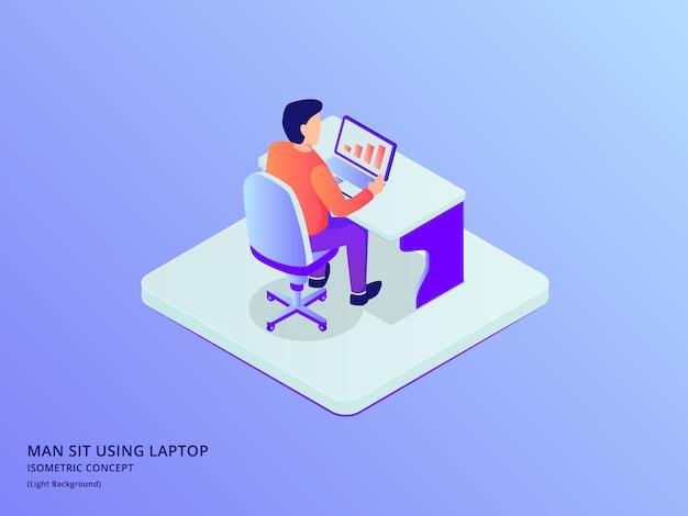 L'uomo si siede sul lavoro della sedia sul computer portatile con una certa analisi dei dati con stile piano isometrico