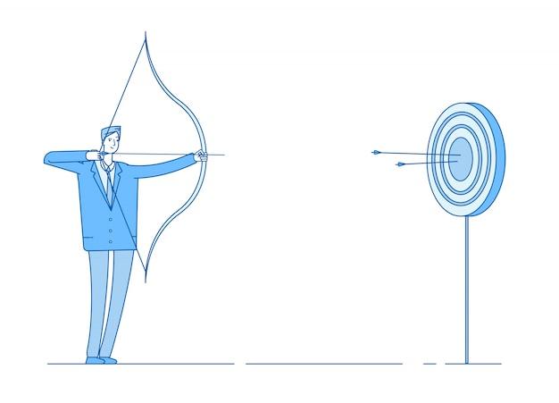 L'uomo spara a prua. freccia mirata nel bersaglio, tiro di precisione da uomo d'affari. obiettivo di raggiungere il concep di realizzazione di beneficio aziendale