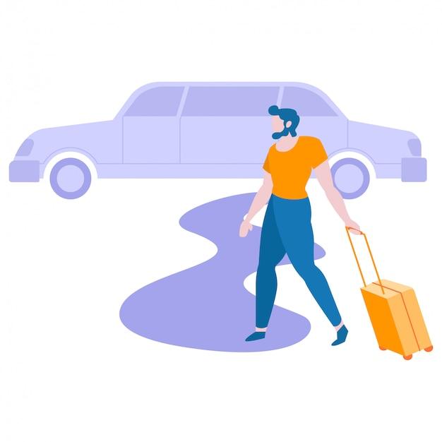 L'uomo sta andando a viaggiare