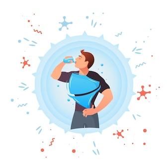 L'uomo sta bevendo acqua