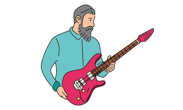 L'uomo tiene la chitarra elettrica disegnata a mano