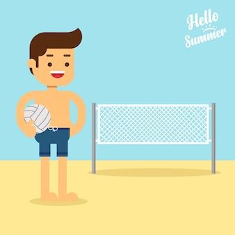 L'uomo va a viaggiare in piedi caucasica giocatore di beach volley in piedi