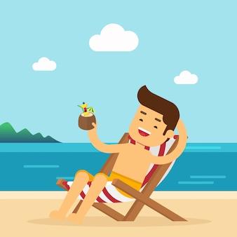 L'uomo va a viaggiare in vacanza estiva