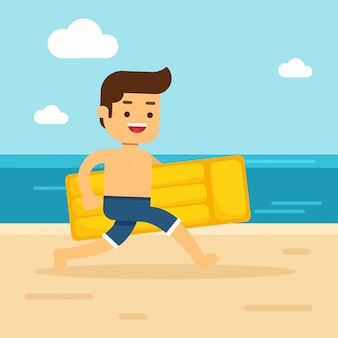 L'uomo va a viaggiare l'uomo che cammina alla spiaggia che tiene materasso gonfiabile rosso