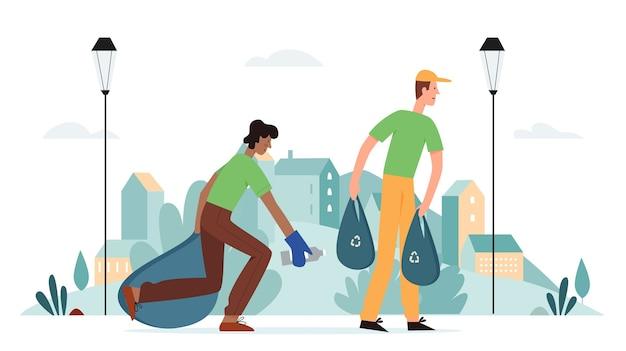 L'uomo volontari pulitori pulizia città