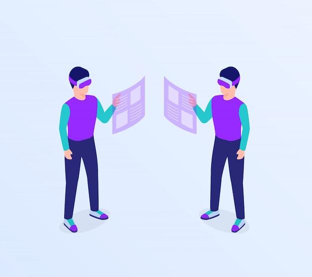 L'uomo vr i vetri di realtà virtuale accedono al concetto di informazioni di dati con stile piano isometrico