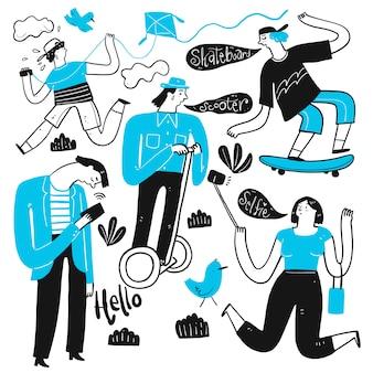 L'uso quotidiano nel caldo dell'estate. raccolta di disegnati a mano, illustrazione vettoriale in stile doodle schizzo.