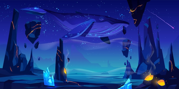 La balena nuota nell'illustrazione dello spazio profondo