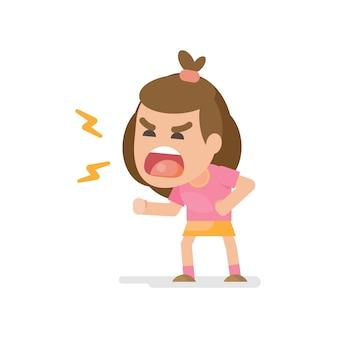 La bambina carina si arrabbia