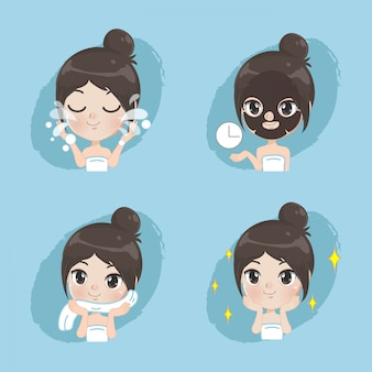 La bambina mostra il processo di cura della pelle del viso