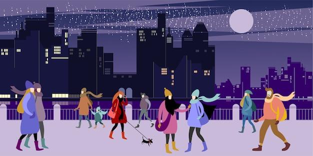 La banchina della città invernale della sera.