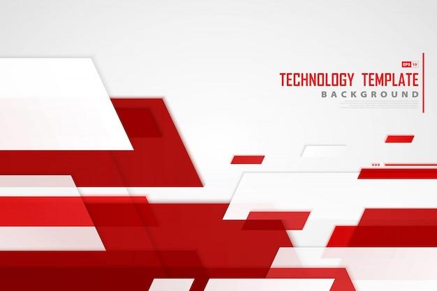 La banda rossa astratta allinea il fondo del modello di tecnologia.