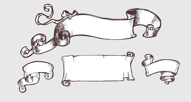La bandiera d'annata ha impostato nello stile di sketh.