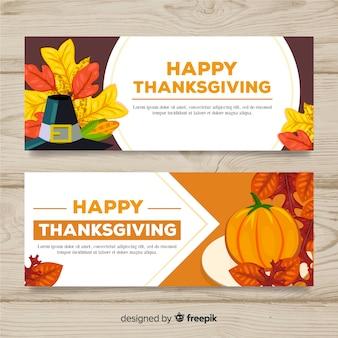 La bandiera del giorno del ringraziamento ha messo con gli elementi di autunno