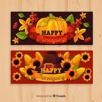 La bandiera del tacchino del giorno del ringraziamento ha impostato con le zucche