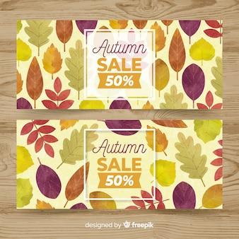 La bandiera di vendita di autunno ha impostato nello stile dell'acquerello