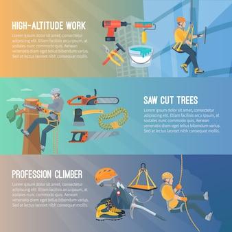 La bandiera orizzontale piana di colore circa il lavoro ad alta quota ha visto l'illustrazione di vettore dello scalatore di professione degli alberi tagliati