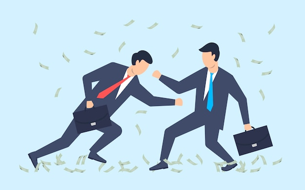La battaglia degli affari. gli uomini d'affari lottano per il profitto, i soldi volano.