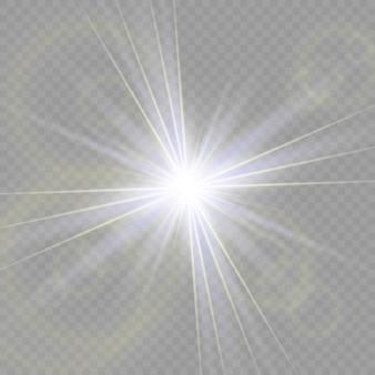 La bella luce bianca esplode con un'esplosione trasparente. , illustrazione luminosa per un effetto perfetto con le scintille. stella luminosa. lucentezza trasparente del gradiente di brillantezza, flash luminoso.