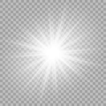 La bella luce bianca esplode con un'esplosione trasparente.