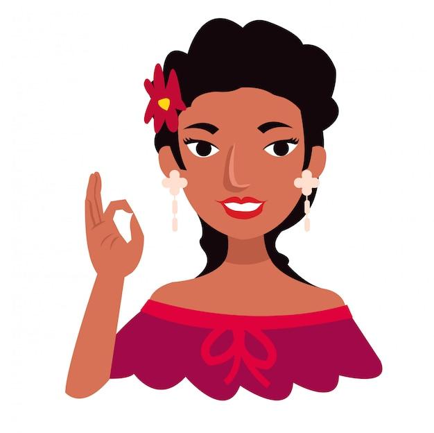 La bella ragazza messicana indossa i vestiti tradizionali