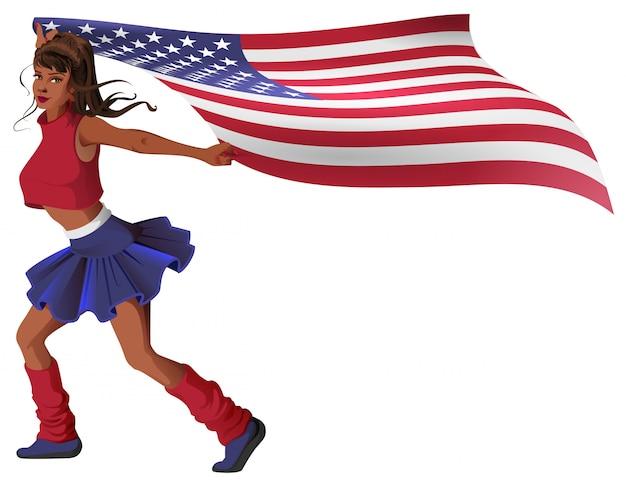 La bella ragazza pon pon della giovane donna porta la bandiera degli stati uniti