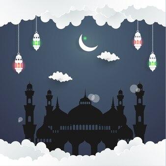 La bellezza di ramadan kareem con l'illustrazione della moschea silhouette