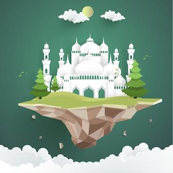 La bellezza di ramadan kareem con l'illustrazione della moschea