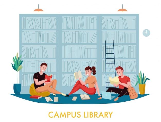 La biblioteca del campus universitario presenta una composizione piatta con gli studenti che leggono articoli di libri con scaffali