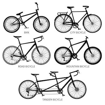 La bici digita le siluette nere, la strada, la montagna, biciclette in tandem isolate