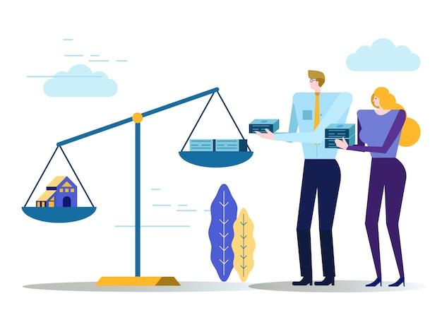 La bilancia delle persone e il denaro in scala. concetto di bene immobile