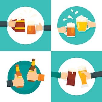 La birra applaude il vetro delle bottiglie