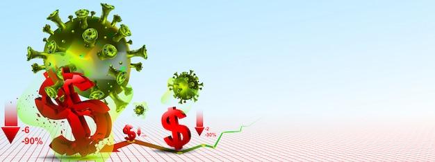 La borsa crolla e il crollo dell'economia globale causato dal coronavirus nel 2020. mostra il crollo della valuta in dollari o la ricaduta di covid-19.