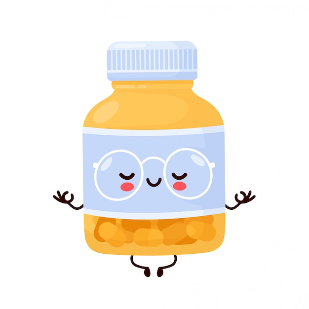 La bottiglia di pillola divertente felice sveglia medita. personaggio dei cartoni animati illustrazione icona design.isolated