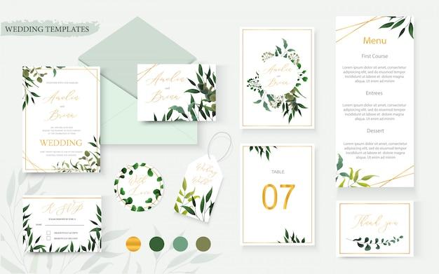 La busta della carta dell'invito dell'oro floreale di nozze conserva la data progettazione dell'etichetta della tavola del menu di rsvp con la struttura verde della corona dell'eucalyptus delle erbe tropicali della foglia. stile dell'acquerello del modello di vettore decorativo botanico