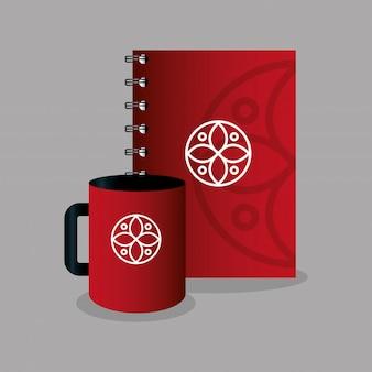 La cancelleria del mockup fornisce il colore rosso con il segno bianco, identità aziendale del mockup