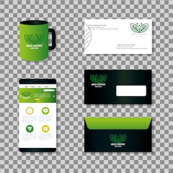 La cancelleria mockup fornisce il colore verde con foglie di segno, identità aziendale verde